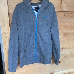 EUC Fox medium zip up hoodie gray